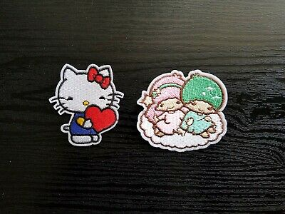 Sanrio Kawaii Hell Kitty & Little Twin Stars Embroidery Iron Patch Applique