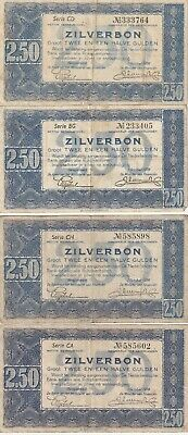 Group lot of 4 Vintage Netherlands 2.50 Gulden 1938 Pick 62 Zilverbon Dutch