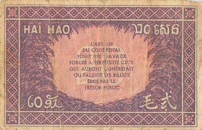 French Indo China  20  Piastres  ND. 1942  P 90   Circulated Banknote XXLB
