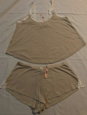 New Victorias Secret ribbed cami shorts PJ pajama sleep set Beige small