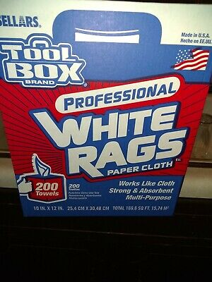 SELLARS Toolbox Multi-Purpose Shop Towels Rags 3X STRONGER 200 Rags eac