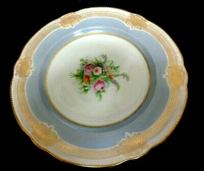 Antique HAND PAINTED French SEVRES STYLE PORCELAIN PLATE Jewelled Gilt FLORAL