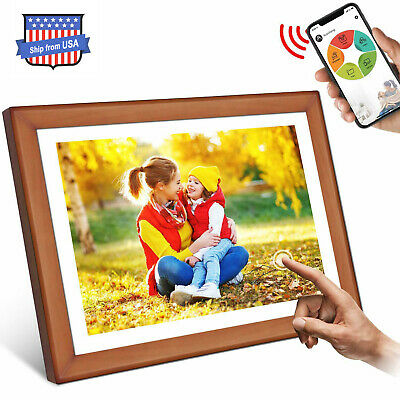 """WiFi Digital Picture Photo Frame Wood 10.1"""" Touch Screen Display Touch Screen"""