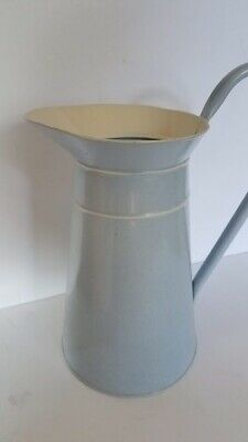 Tall Pale Blue and White Enamel Pitcher with Handle
