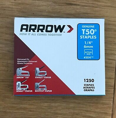 "PACK OF 1250 x GENUINE ARROW T50 6mm (1/4"") HEAVY DUTY STAPLES"