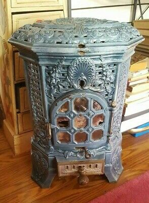 Cast Iron Blue Porcelain Heater Stove French Art Deco Lily Deville Charleville