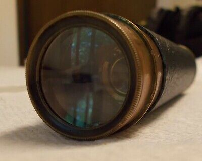 Functional Leather and Brass Antique Telescope