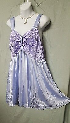 "Woman Within  Short Sexy Purple Lace Nylon Babydoll Nightgown  2X 46"" BUST"