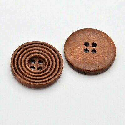 10 x 25mm Button Wooden Flat Round Buttons, 4-Hole, Dyed, Sew Scrapbooking