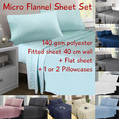 Ultrasoft Micro Flannel / Flannelette Sheet Set, All Sizes, 6 Colours + 4 Prints