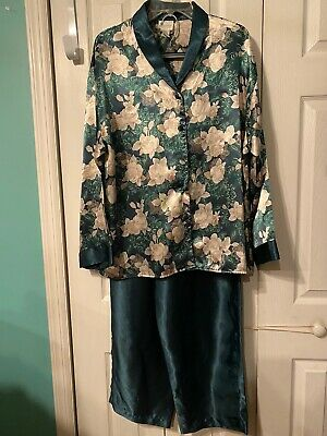 ADONNA Womens 2 Piece Green Beige Floral Top Green Lounge Pants Pajama Set Siz L