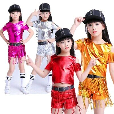 Kids Dance Dress Outfit Girls Sequined Top Shorts Set Gym Hip-hop Jazz Coutume