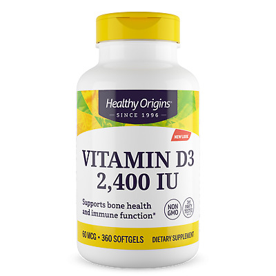 Vitamin D-3, D3, 2400iu x 360 Softgels - Healthy Origins