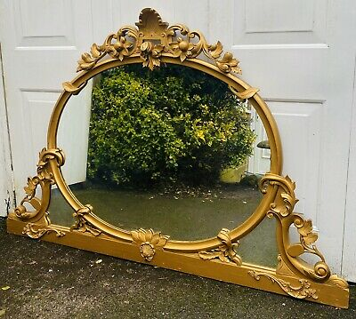LOVELY LARGE 19thC ANTIQUE GILTWOOD OVERMANTLE MIRROR, C1900
