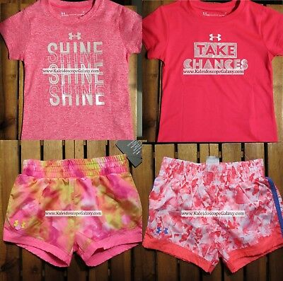 UNDER ARMOUR GIRLS 2T ~ SHORTS ~ T-SHIRTS ~ PINK ~ BNWT ~ $80 Retail