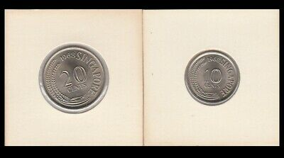 "1968 SINGAPORE 10 & 20 CENT ""BU"" PROOF COINS  - km3 & km4 - SEE SCANS YOU GRADE"