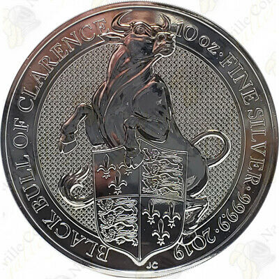 2019 Great Britain Black Bull of Clarence -- 10 oz .9999 fine silver -- SKU #...