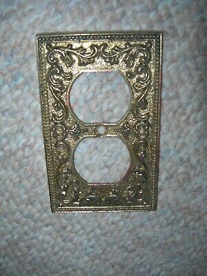 "Vintage Metal Outlet electrical cover ornate. 1960s  4 1/4 "" X 2 5/8"""