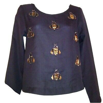 H&M Black Semi Sheer Top Gold Beaded Bumble Bees  Long Sleeve Pullover Size 2