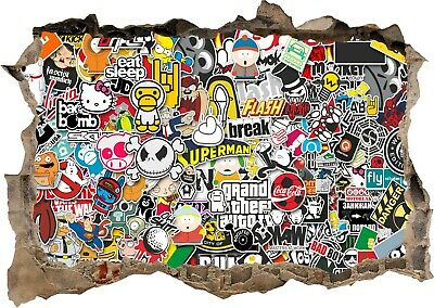 Graffiti sticker bomb style 3d Smashed View Wall Sticker Poster Bedroom Z712