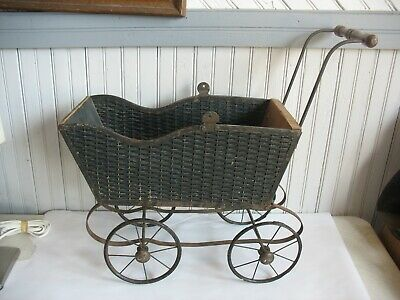 Vintage woven leather & wooden Baby Doll Carriage Buggy Stroller metal wheels