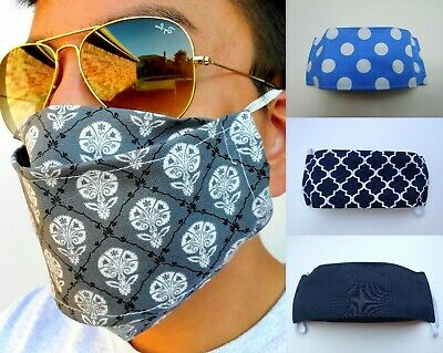 Unisex Cotton Face Mask Cover Breathable Washable Reusable Gray Gold Made In USA