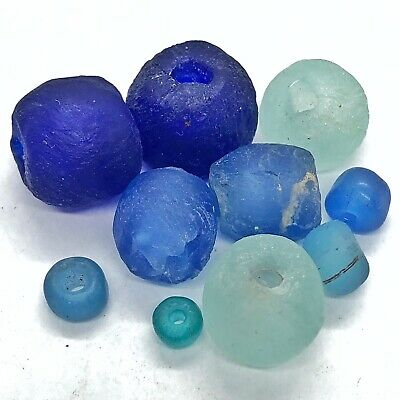 Ancient Or Medieval Rich Blue Glass Bead Artifacts Fine Antiquity - European Etc