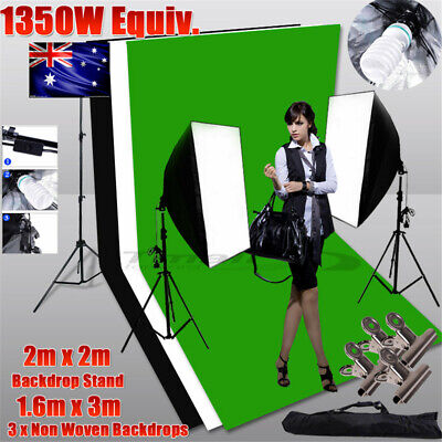 3M Photo Backdrop+Stand SET 1350W Photography Softbox Studio Lighting Video KIT