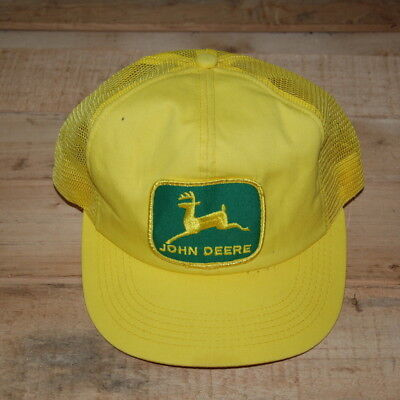 Vintage John Deere Patch Snapback Trucker Hat Cap K PRODUCTS RARE Yellow Green