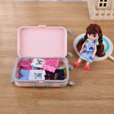 Mini Plastic Suitcase Luggage Play House Toys Travel Girl Doll Accessories #JD