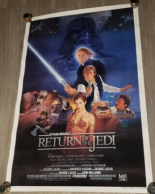 C9! 1983 ORIGINAL STAR WARS RETURN OF THE JEDI Movie Poster 27X41 BLUE HARVEST!