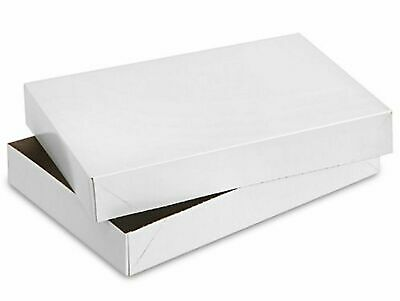 """Pack of 15 White Glossy Two Piece Folding Gift Boxes 6 1/2"""" x 6 1/2"""" x 1 1/2"""""""