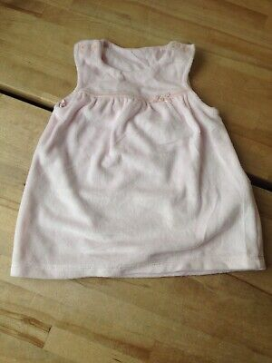 Marks & Spencer M&S Baby Girls Pink Soft Velour Dress 3-6 months VGC