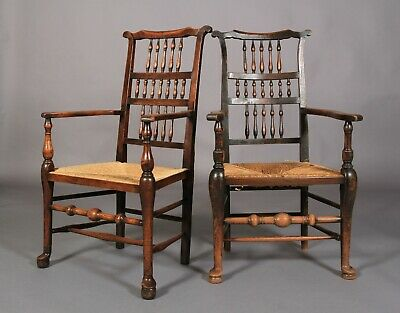 Lovely pair of 18TH/early 19TH Century ELM AND FRUITWOOD Spindle Back Carvers