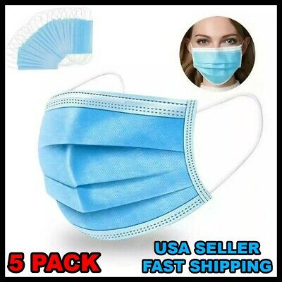 5 Pack Face Mask 3PLY Disposable Surgical Medical Dental Nose Mouth Cover