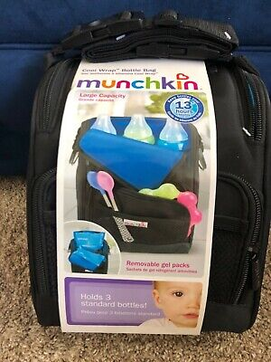 Munchkin Cool Wrap Large Capacity Insulated Black Bottle Bag NWT