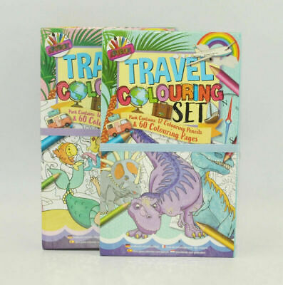 1x Travel Colouring Set With 2 Books & 12 Pencils Paint Book Girls Boys Activity