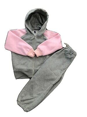 Girls Age 4/5 Pink And Grey Full Tracksuit With Hood New Without Tags Uk Seller