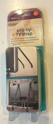 KidCo anti-tip TV strap. Prevents Flat Screen TV from Tipping Over. 2 Pack Black