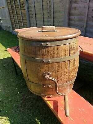 Original Wooden Vintage French Butter Churn With Paddle Plant Stand Storage