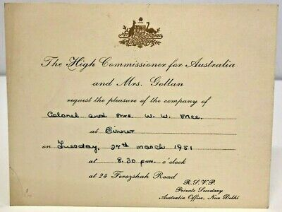 Vintage Invitation From Australian High Commissioner Roy Gollan New Delhi 1951