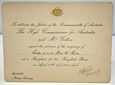 Invitation High Commissioner Roy Gollan Jubilee Commonwealth Australia 1950s