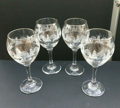 Vintage Set of 4 LIBBEY FROSTED CHRISTMAS TREE WINTER WINE GLASSES Gold Rim Arby