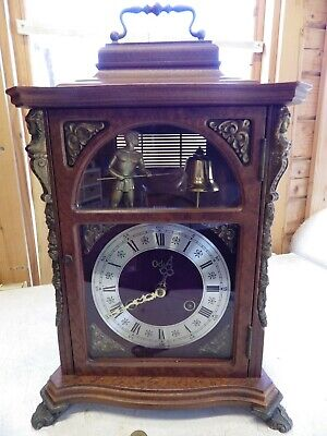 Large Bracket Clock Man At The Top Strikes The Bell On The Hours very Rare Clock