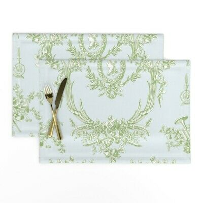 Cloth Placemats French Vintage Rococo Toile Shabby Chic Cottage Style Set of 2