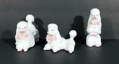 Set of 3 Vintage White Spaghetti Poodle Figurines ~ Made in Japan