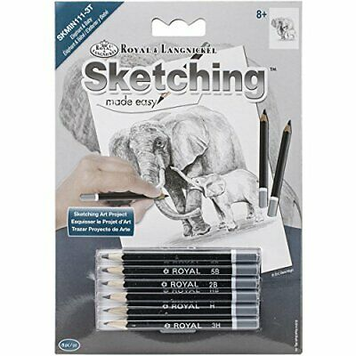 "ROYAL BRUSH Sketching Made Easy Elephant & Baby Mini Kit, 5"" by 7""#33"