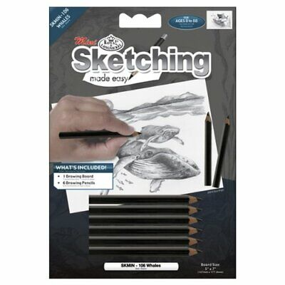 ROYAL BRUSH Mini Sketching Made Easy Kit 5 by 7-Inch, Whales#64