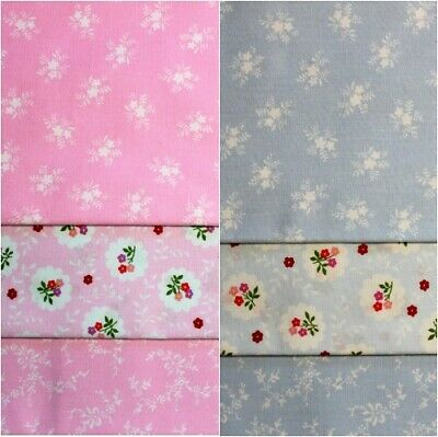 Bundle of 3 Cotton Fat Quarters - Pink Blue Floral Flowers 53cm x 50cm