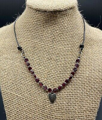 SILPADA-Sterling Silver Red Heart Garnet Leather Necklace N1898-HTF